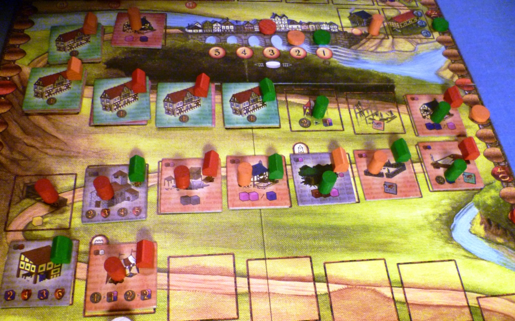 The Caylus board in the last third of the game.