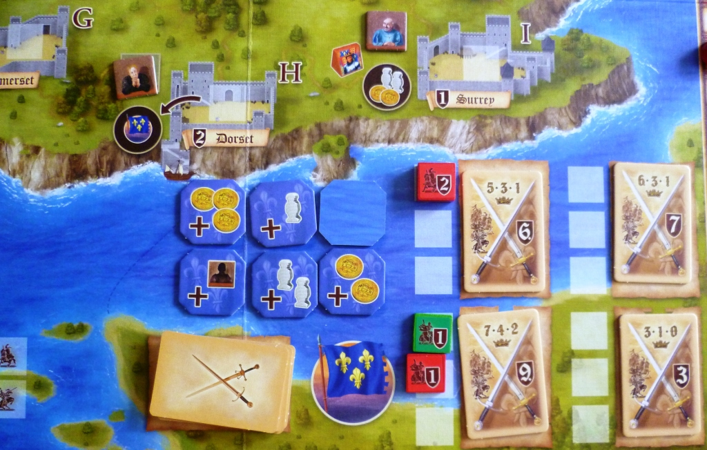 The conflict part of the board, rewards for going to France are shown on the blue octagonal tiles