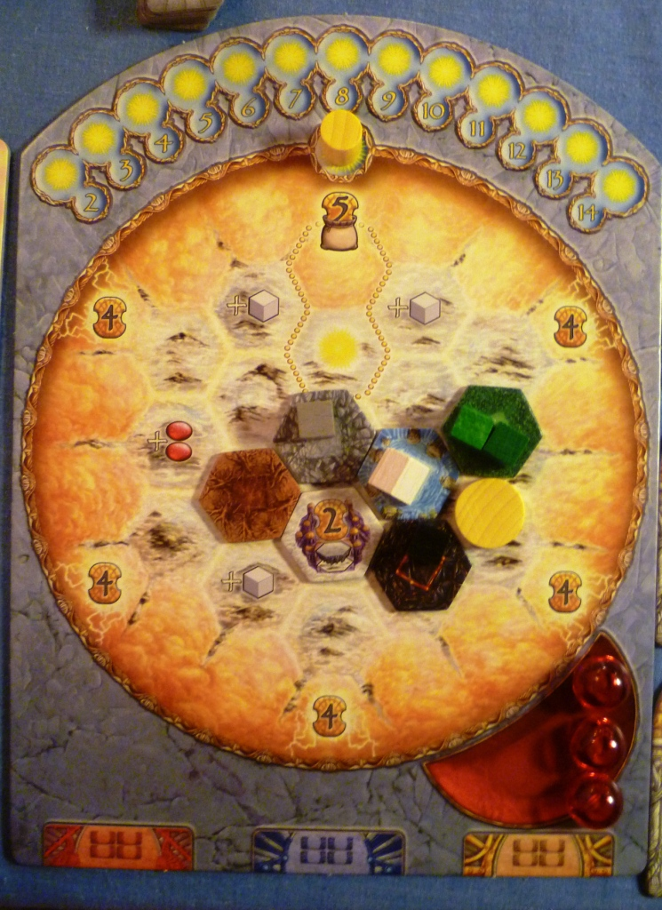 A Player board in Helios which uses various methods for collecting victory points, a lovely game.