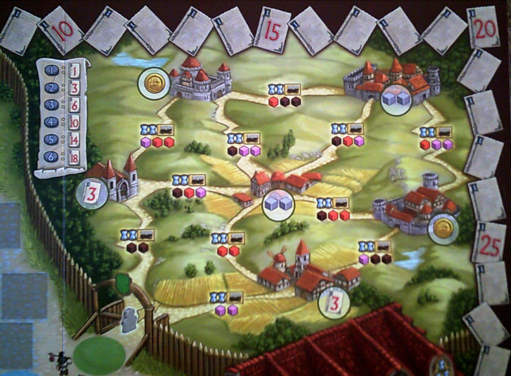 The travelling section of the board, the first journey is using a wagon, 2 time and either 2 pink or 2 brown cubes.