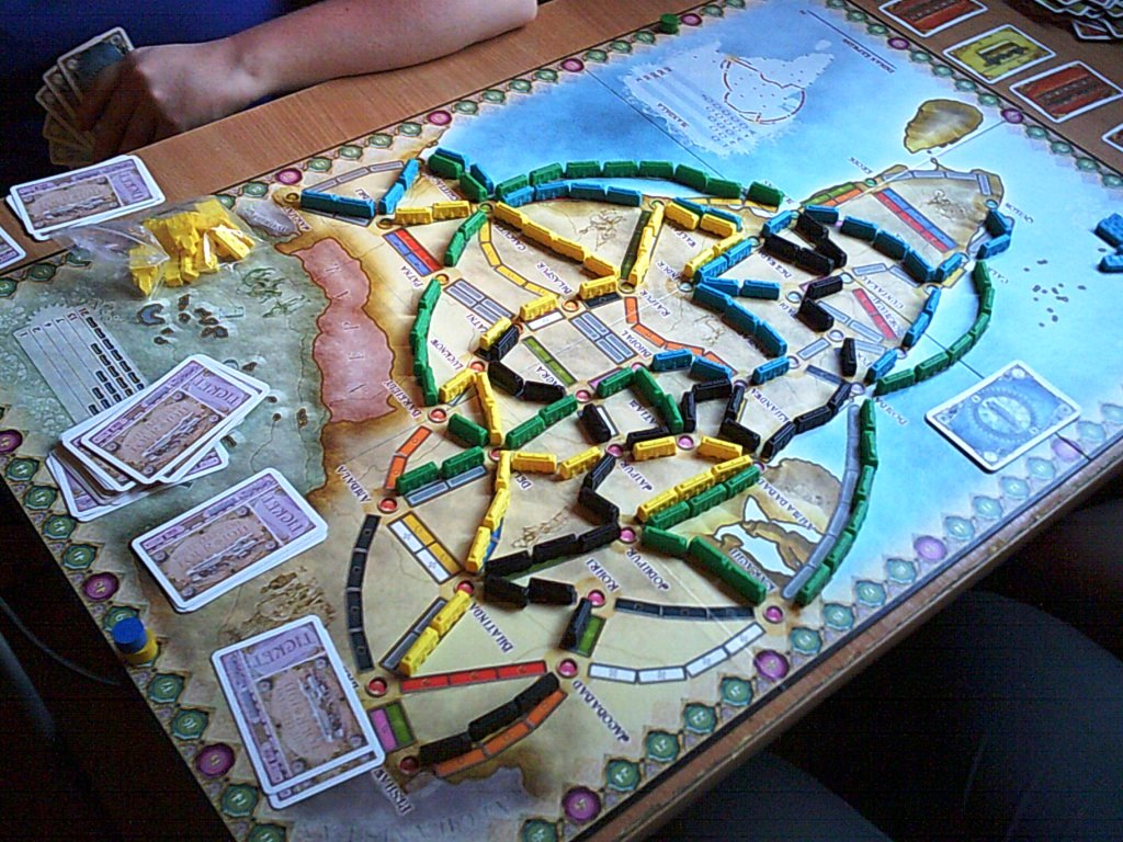 Ticket to Ride at the club on the India map