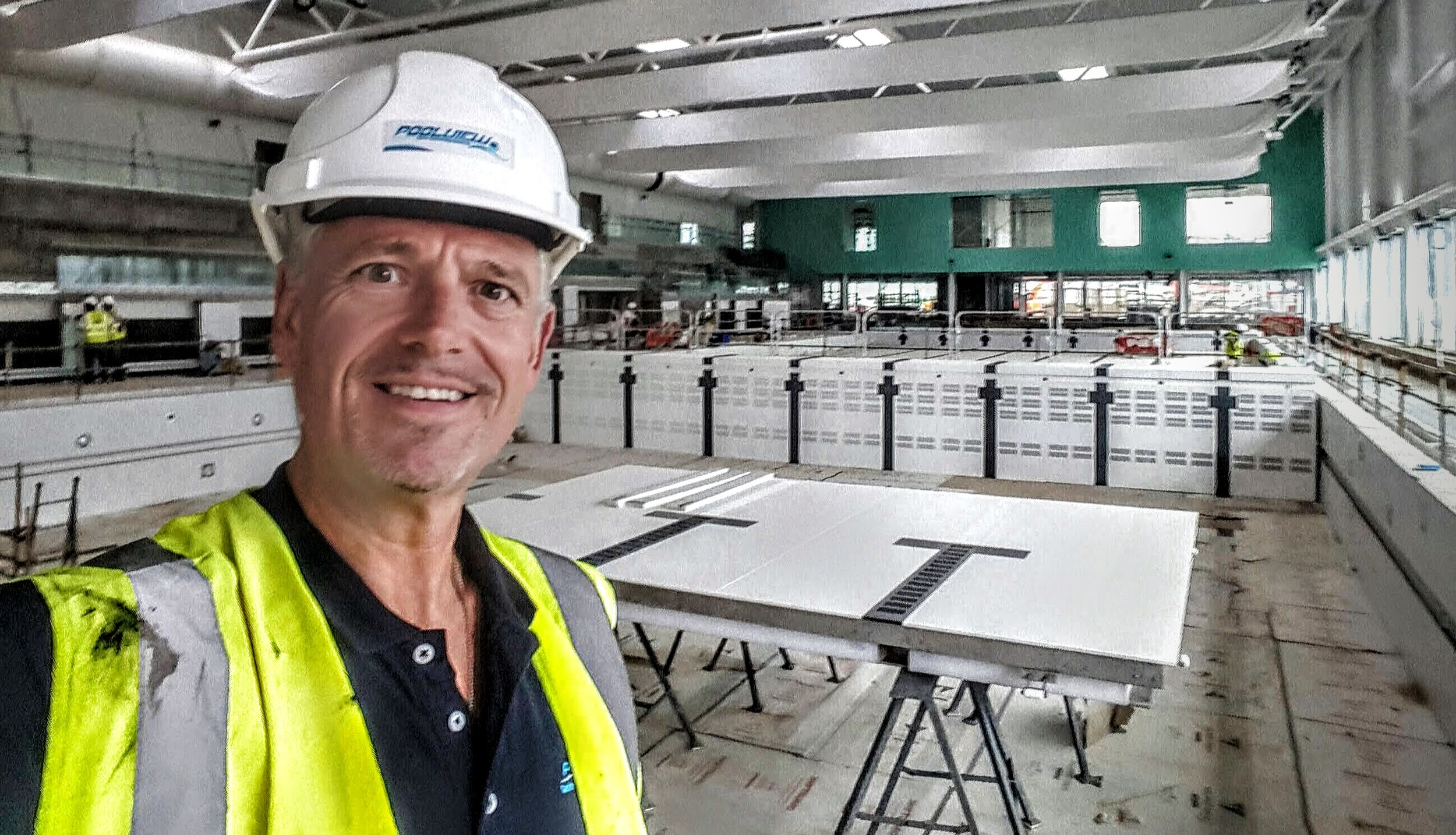 Robin McGloughlin with the sub-aqua dive pit moving floor in the background