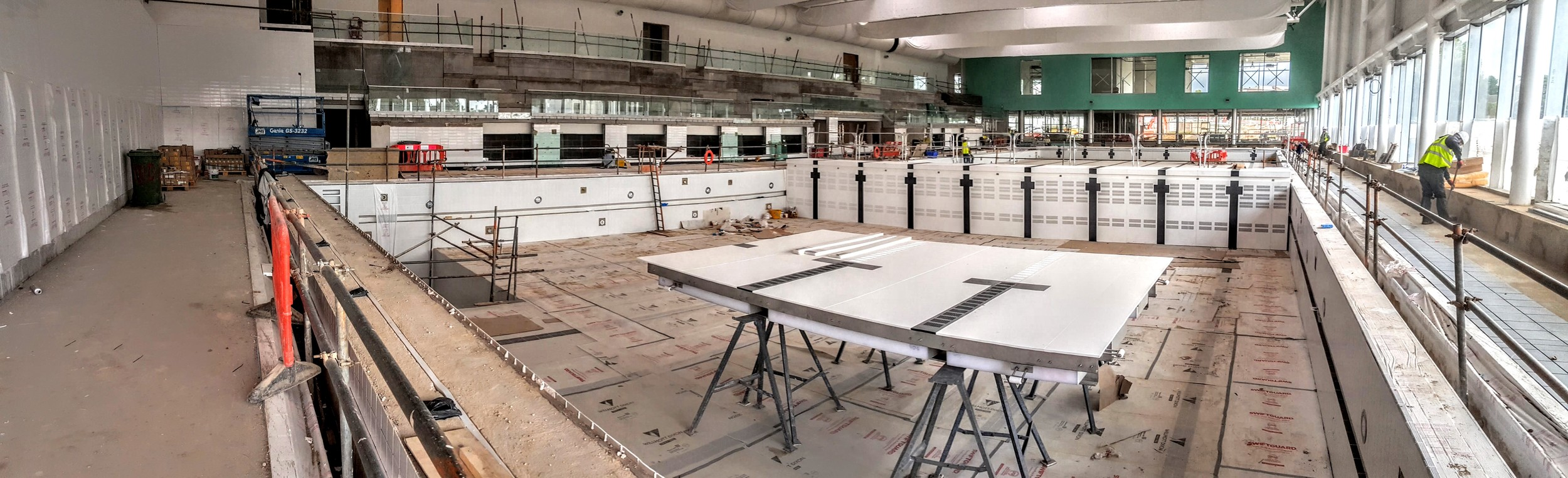 Looking down the length of the 50m pool with moving bulkhead raised