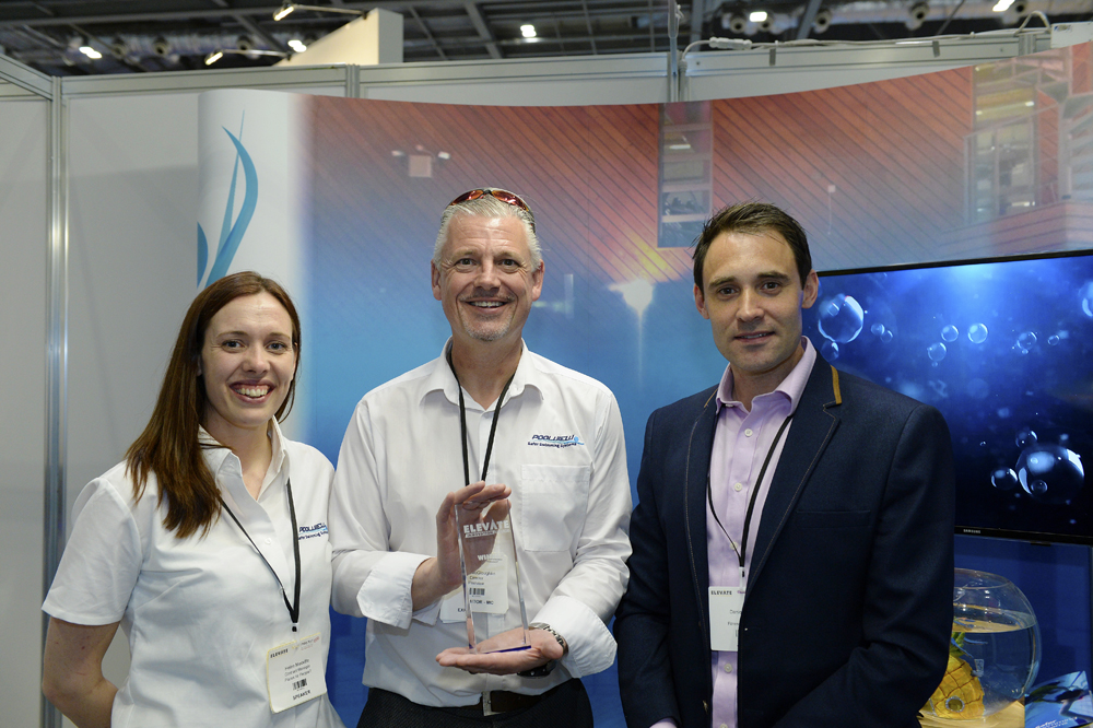 "Robin McGloughlin and Helen Meckiffe receiving the ""Best facility Innovation"" Award at Elevate"