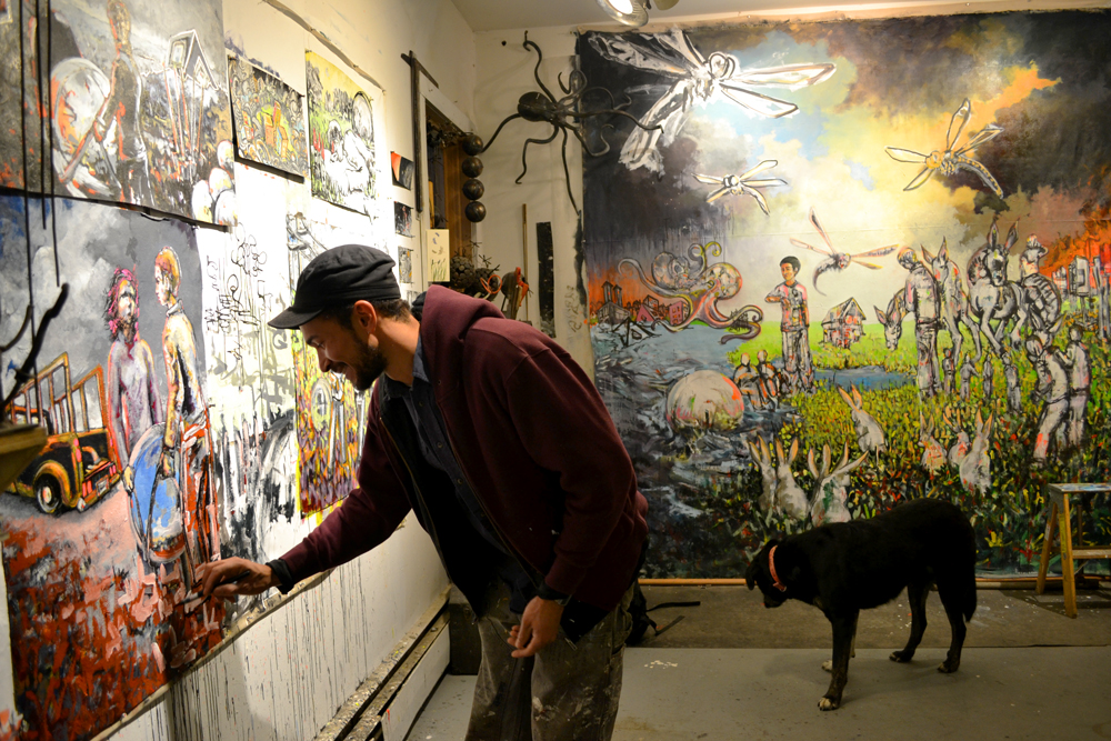 2013 MFA graduate Harlan Mack in his studio