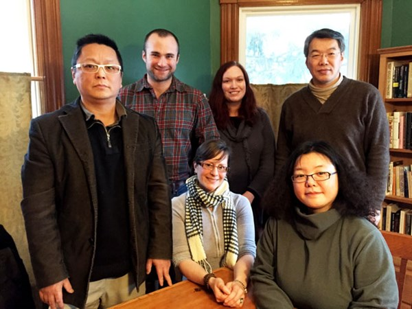 Six of VSC's 2015 Luce Chinese poetry & translation fellows (left to right): standing: Yang Xiaobin, Canaan Morse, Jennifer Feeley, and Zang Di; sitting: Eleanor Goodman and Tang Sui-Wa