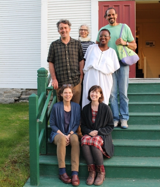 Pictured (clockwise from top left): Beth McCabe of The Rona Jaffe Foundation, Visiting Writer Ross Gay, VSC Rona Jaffe Fellow Chekwube Danladi, 2017-8 Writing Program Coordinator Andrea Martin, Writing Program Manager Jody Gladding, and VSC President Gary Clark