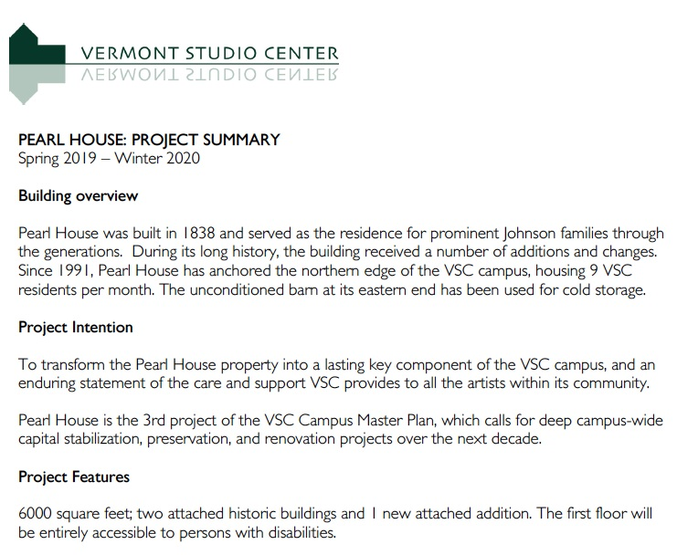 Read the Pearl House Project Summary