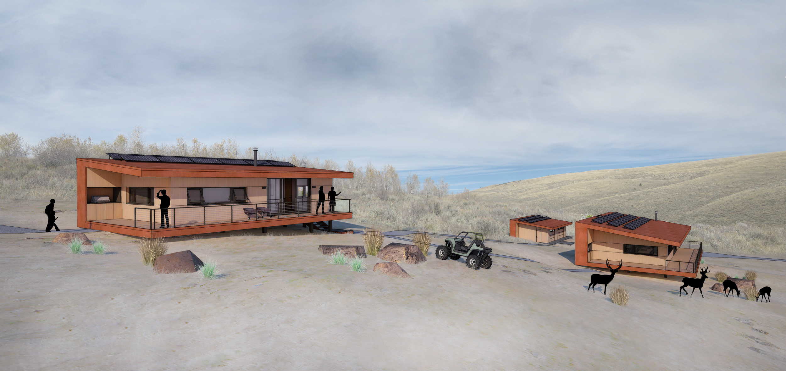 Guest Cabin - Foreground,Main Cabin - Far Right, Barn - Bottom Middle