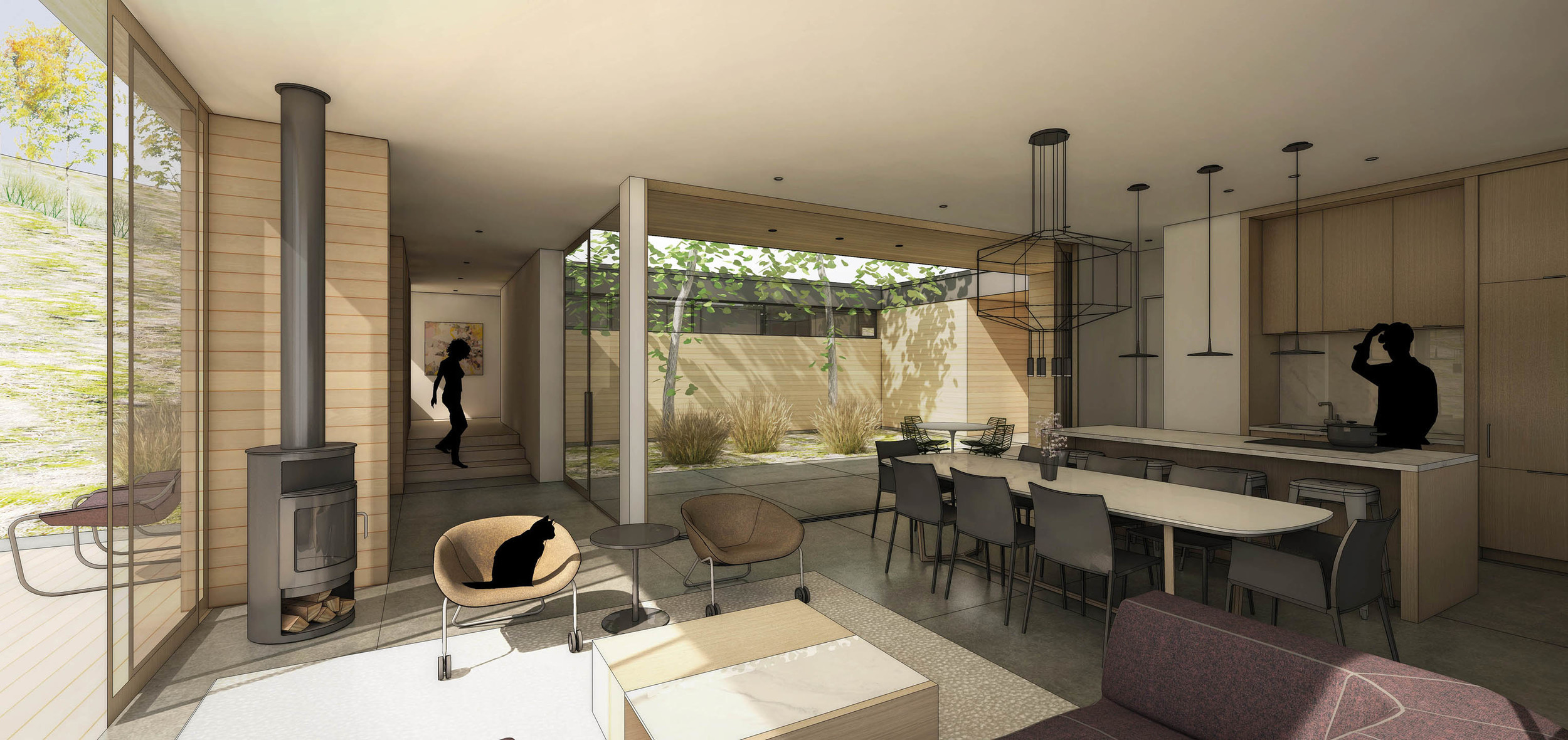 main living space - looking into courtyard