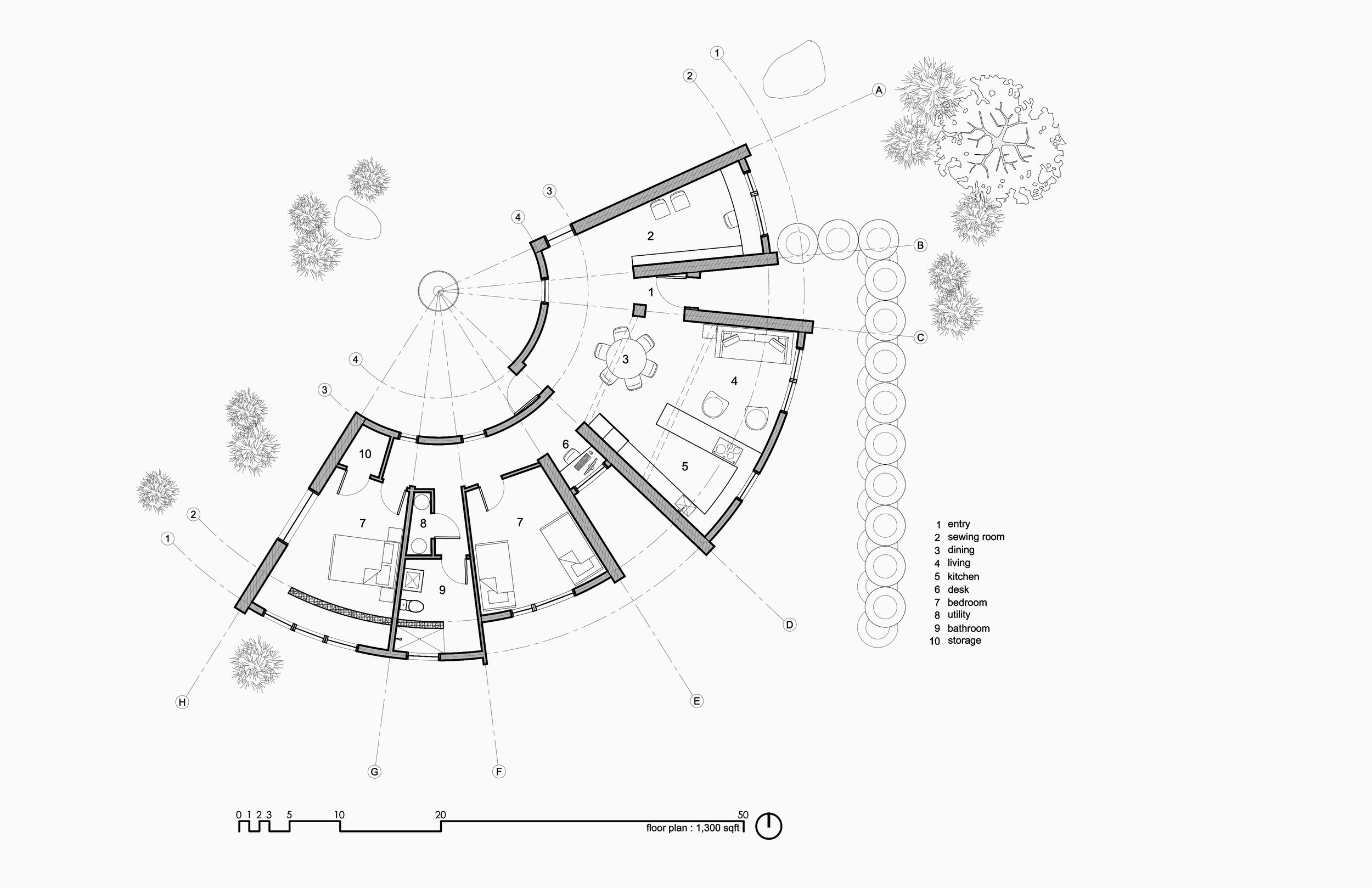 technical construction document floor plan for the construction of a modern mountain home in Arizona