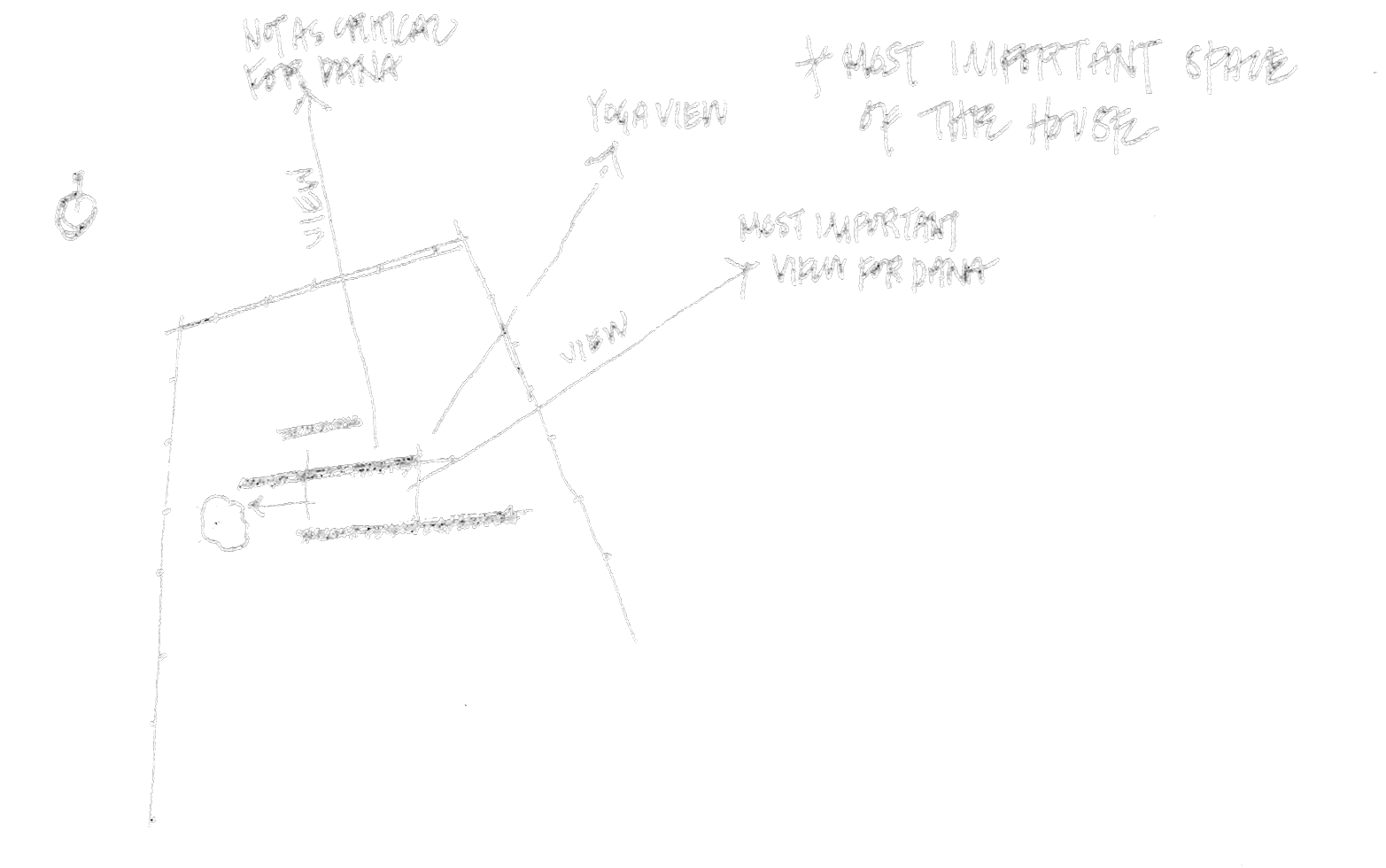 hand sketched concept diagram drawn as part of an architectural exploration for a modern home in Park City, Utah