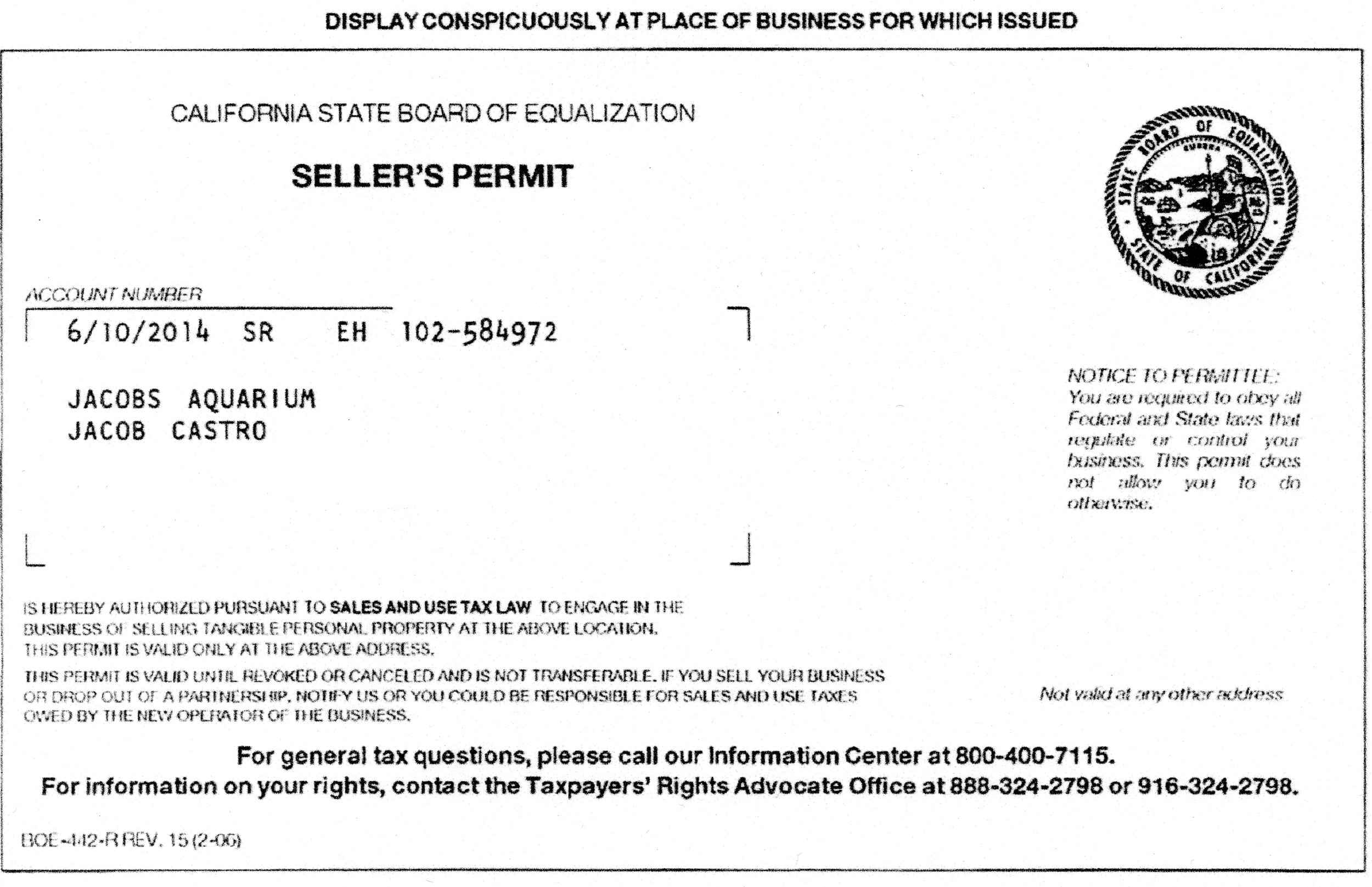 Personal information has been removed from this permit for privacy. Additional permit information is available upon request with valid government issued badge or identification.