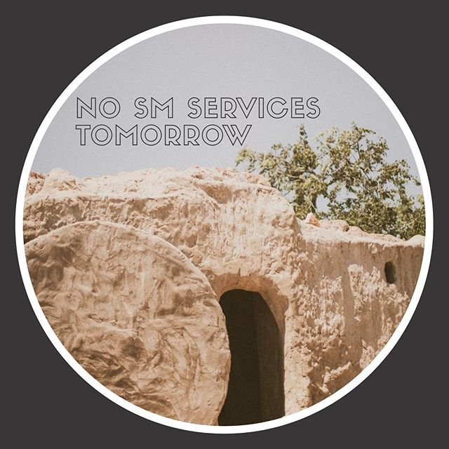Just a reminder that we will not be meeting together as Student Ministries tomorrow - we'll be praising our risen Savior together in the Sanctuary with our families, and we hope you do the same! All those years ago, on Sunday morning, the stone was rolled away and death was swallowed up in victory (1 Corinthians 15:54) — THAT is a reason to celebrate! See you guys next week.