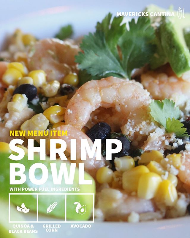 We just launched 🚀 our NEW MENU! So fresh, so delicious. Have you tried any of our Summer Menu items?! Shrimp Fresca Bowl 🍤 | Sweet and Spicy Pineapple Glazed Baby Shrimp with Quinoa, Black Beans, Avocado, Queso Fresco, Grilled Pickled Corn, Chipotle Aioli and Cilantro