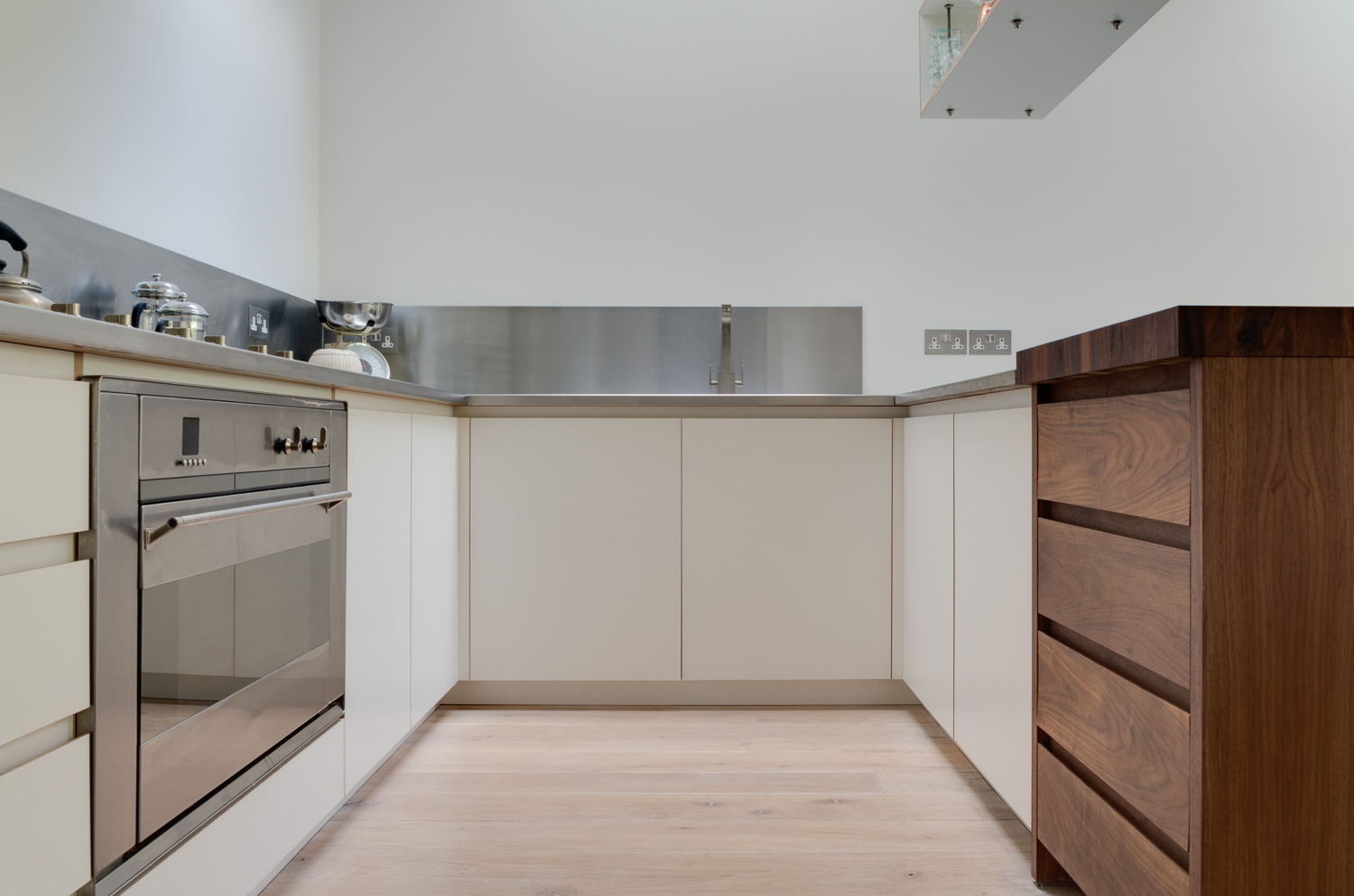 Copy of Clapham London Custom kitchen stainless steel and walnut