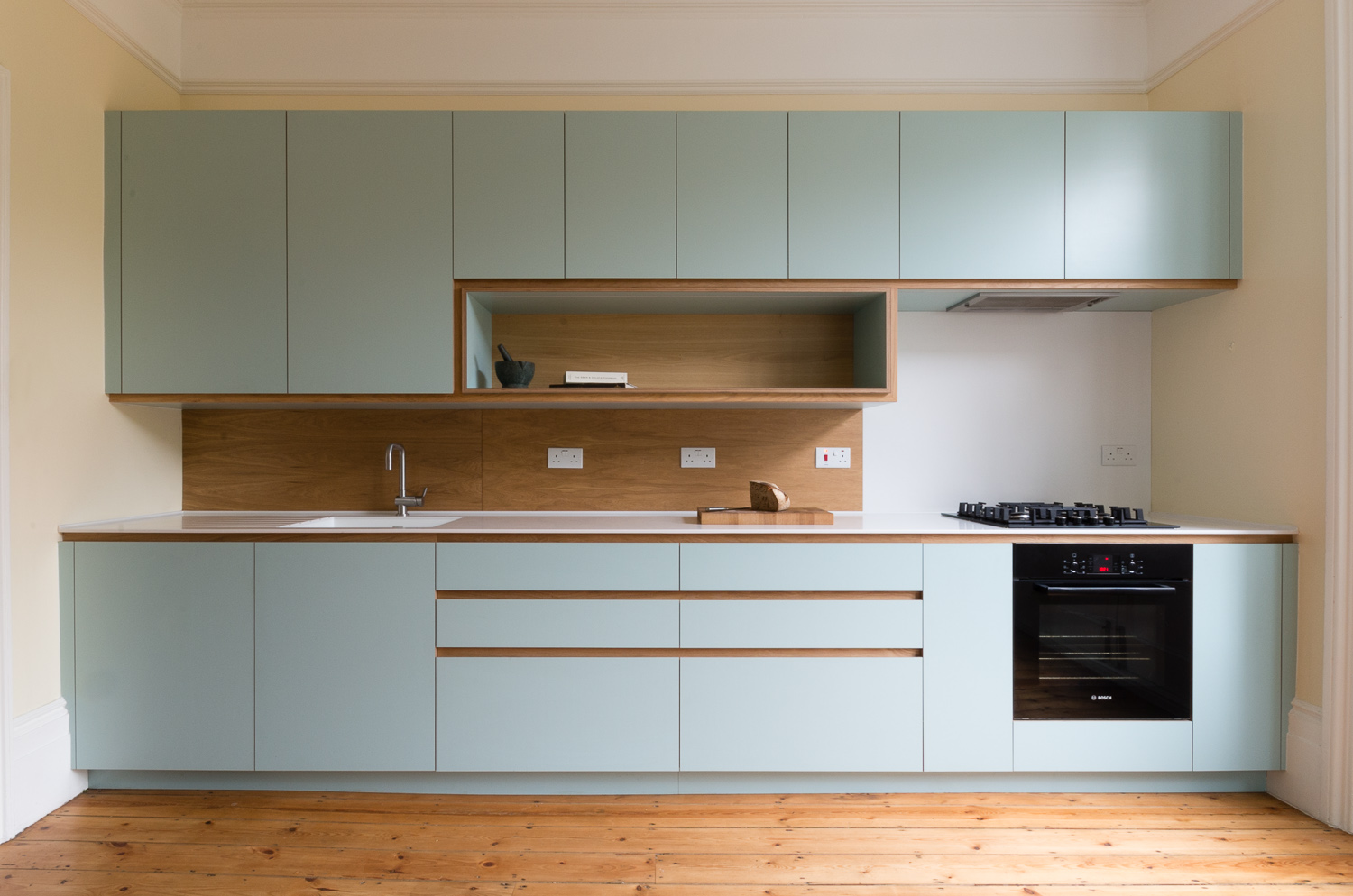 Copy of Bespoke kitchen and cabinets in custom laminated birch plywood and solid oak in Crouch End.