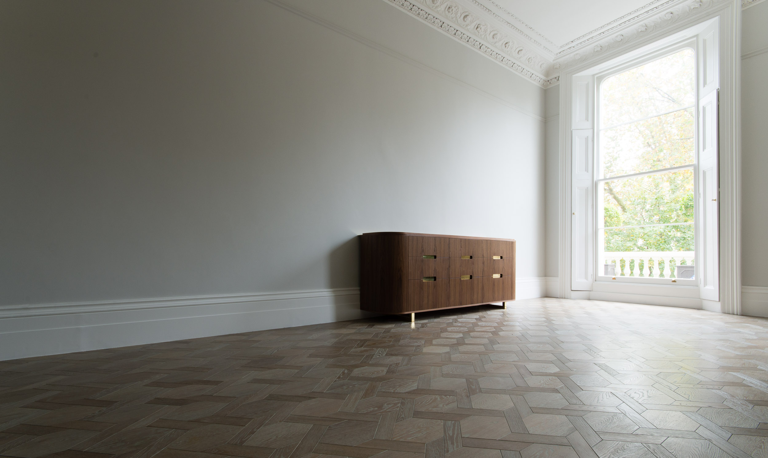 Custom Freestanding Furniture - bespoke sideboard with curved ends