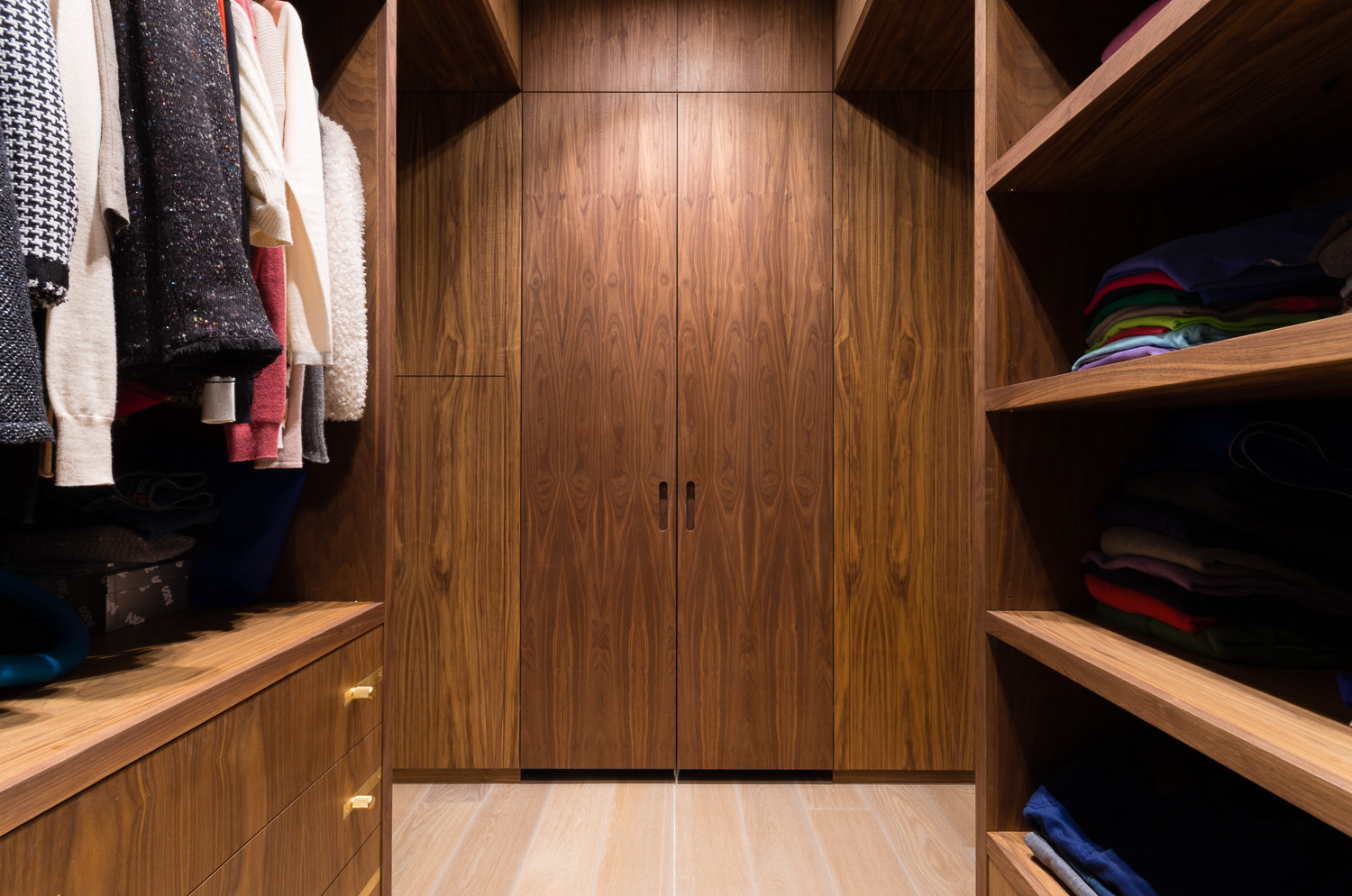 Bespoke walk in wardrobe - Warwick avenue dressing room walnut veneered doors