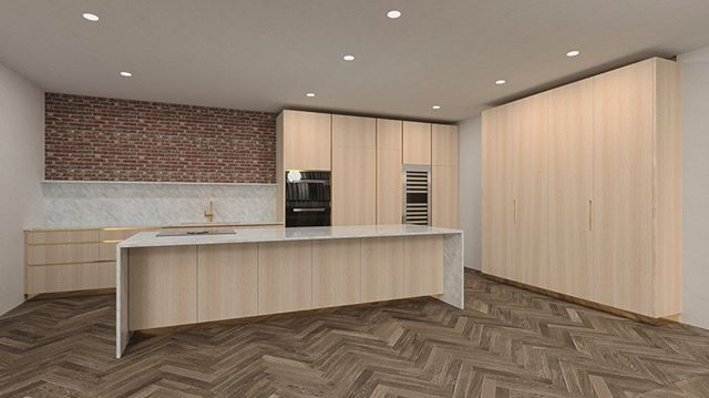 Render week has now turned into render fortnight! Today's render is of a beautiful oak, Carrera marble and brass underground kitchen we have scheduled for a future potential build 🛠