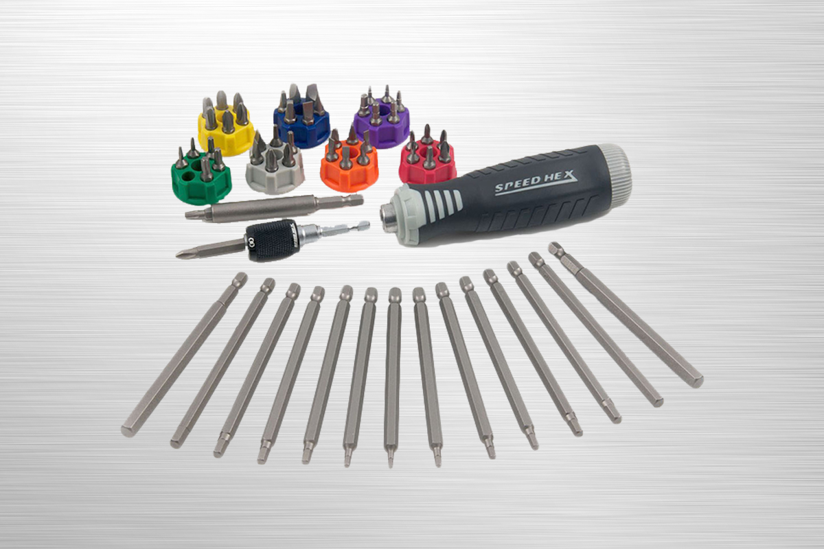 SpeedHex 60 pc T-Grip Hex Key & Driver Set    SH260   SpeedHex 60 piece T-grip driver set includes a SpeedHex handle with removable 1/4 inch auto-load connector that can be used in most drills. Handle provides up to 4 times more torque with unique T-handle slot. Includes metric/SAE bits, 1/4 inch hex shank compact screw guide, 2 inch driver bit, 1/4 inch SpeedHex connector and nylon case.    Purchase on Amazon