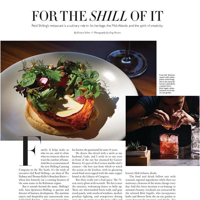 """A huge thank you to @kristenfaye617 for her delectable article in @dcmagazine. Honoring the ingredients and people we work with is our greatest joy and for our diners to taste that in our food makes our day. Come try our seasonal favorites and dishes that Modern Luxury, """"wants on every holiday table this fall."""" 📸 Beautiful shots courtesy of @gregpowers"""