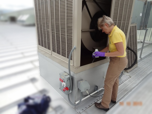 Water and surface sampling on rooftop evaporative cooler for legionella, mold and other bacteria.