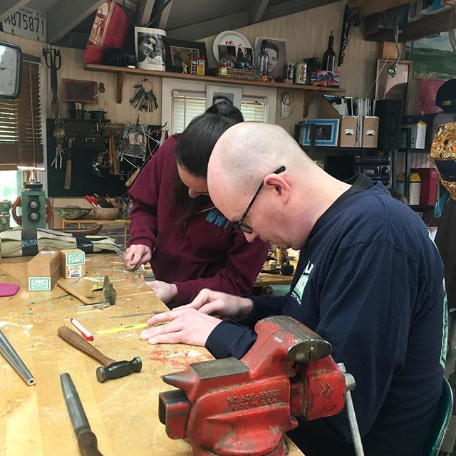 Had a fun weekend workshopping with great friends. I helped these two lovebirds make their wedding bands. 🍾💕@crh37 #handmadeweddingbands #weddingbandworkshop #greensboroartist
