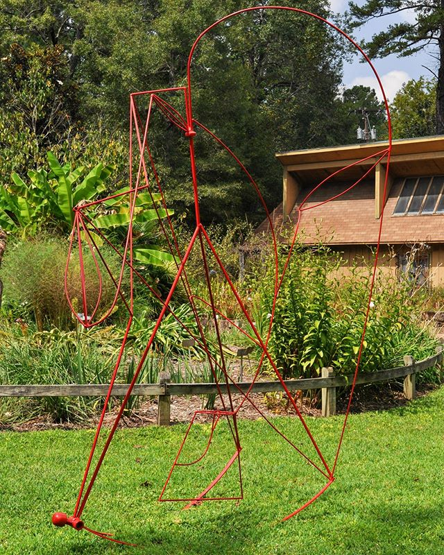 """Indirect Means"" installed at the NC Botanical Garden in Chapel Hill, NC for the next few months. #ncbotanicalgarden #brittanysondberg #steelsculpture #contemporarysculpture #publicsculpture"