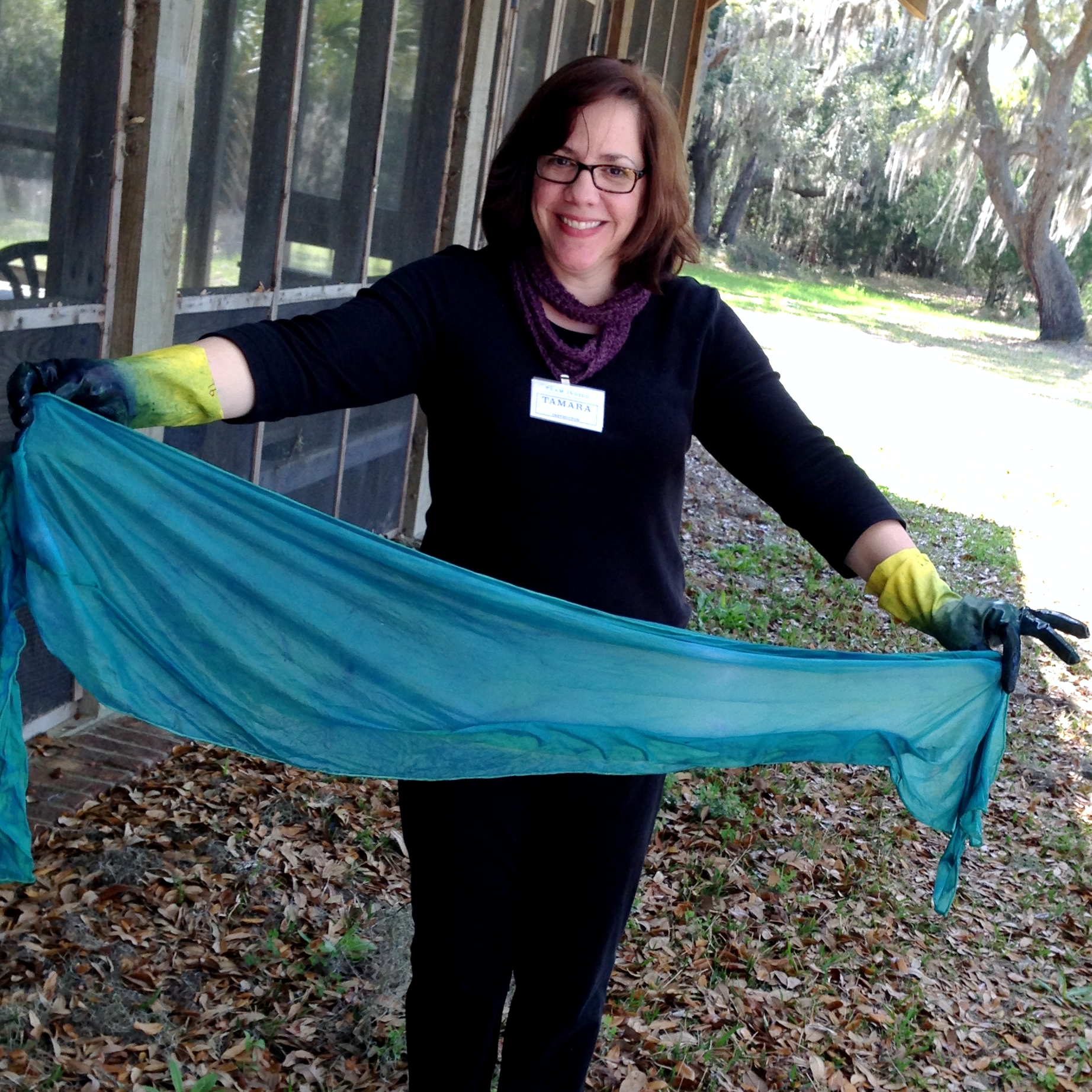 At one of my indigo dyeing workshops at the Charleston Museum's Dill Sanctuary. I love my job!
