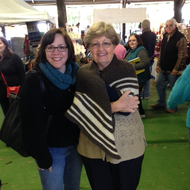 Me, Gail, and her Vintage Winter Shawl  And folks in the background wondering who I am that I've got people taking pics of me everywhere I go.
