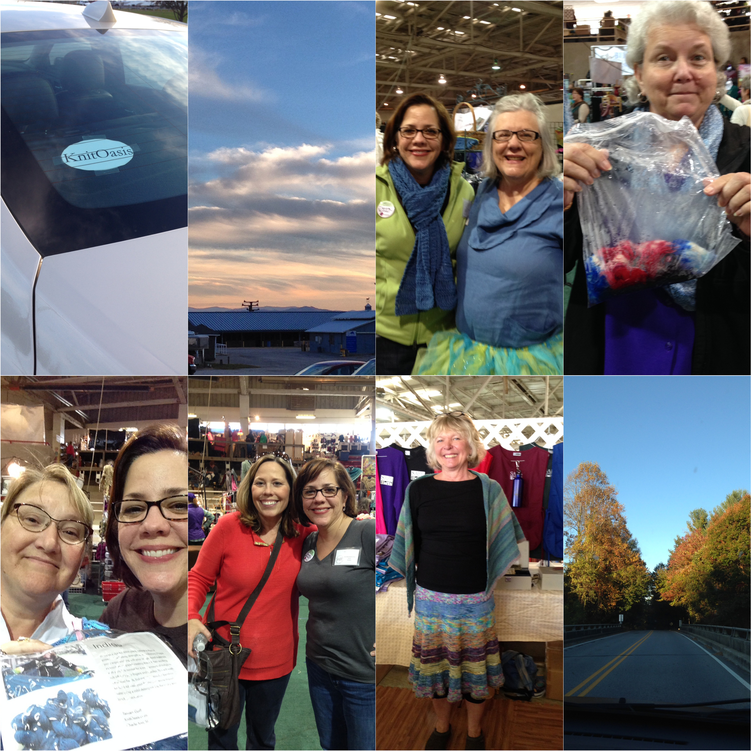 L-R, top row: 1.My knit-mobile for the trip was appropriately decked out. 2. Mountain skies? Yes, please!  3. Me and Pat Lorenz, somehow color-coordinating, ready for SAFF shoppers! 4. Claudia and her awesome sock yarn.  L-R, bottom row: 1. Thank you for buying my kits, Corinne!!! xoxox  2. I met Starr at last year's Knit Inn and decided she fit right in. So cool to see her again! 3. One of the SAFF volunteers in THE skirt. 4. The colors, oh my!!