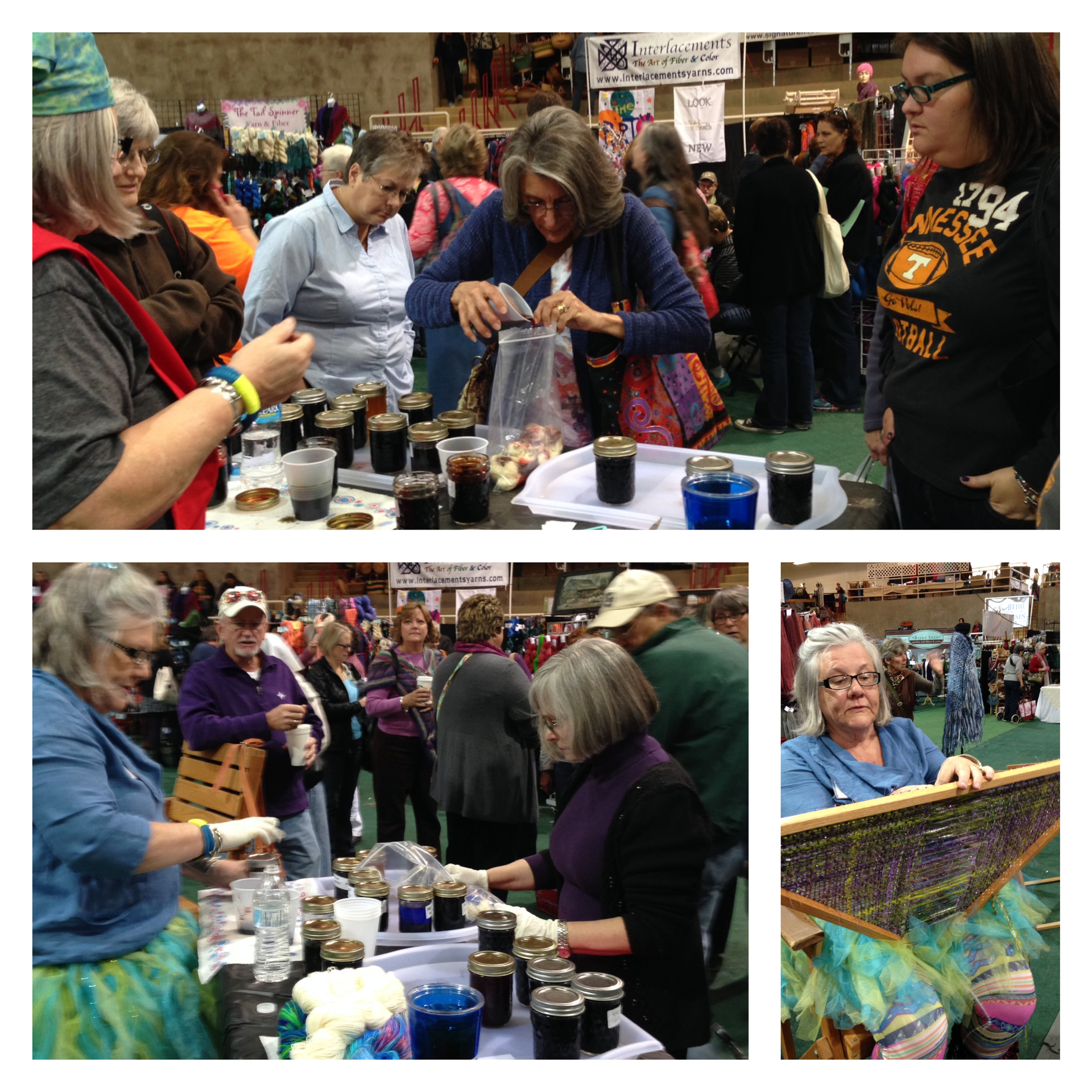 Pat was busy in the booth--helping folks dye their own sock yarn and maybe, just maybe, getting some weaving done on the triangle loom. Also, greeting folks and making them smile. Tutus are always in style!