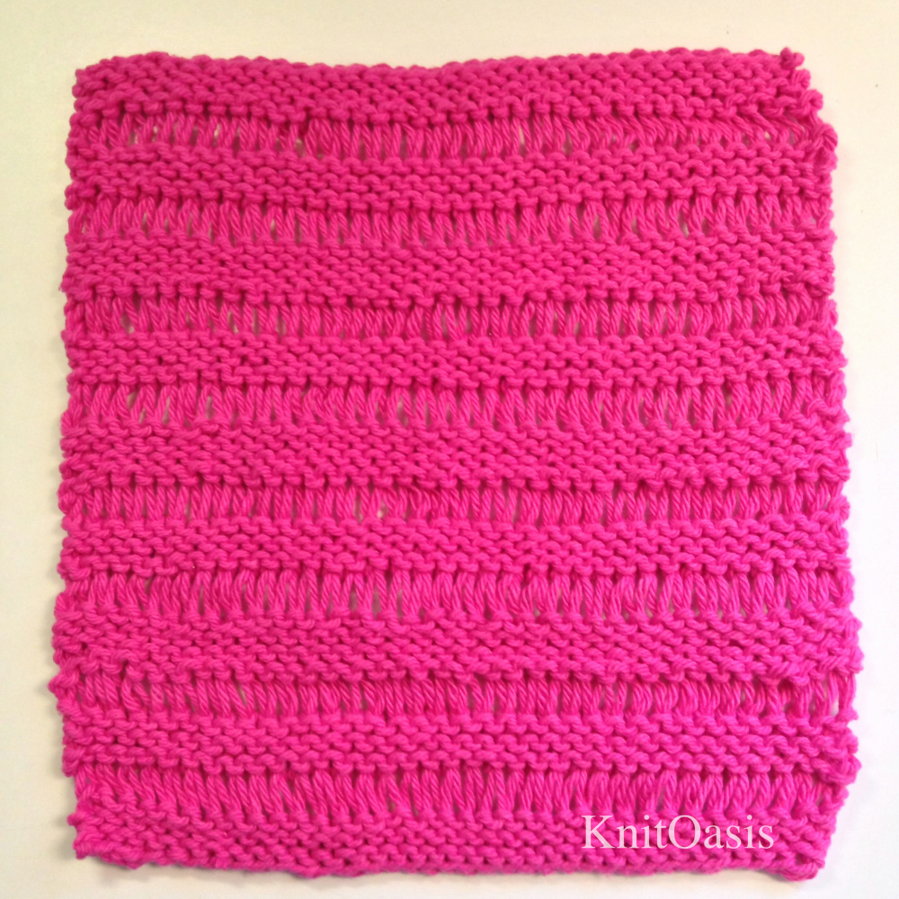 Drop Stitch Dish Cloth   This pattern is available as a  free Ravelry download   The Drop Stitch Garter Dishcloth is one of the first patterns I ever took the time to write down, and now it is available as a FREE Ravelry download!  Years ago I was asked to teach the drop stitch technique and could find no quick and easy patterns to demonstrate it.  Thus was born the Drop Stitch Garter Dishcloth; something we were all already knitting, written down in pattern form for ease of use. It's a quick knit that is so fun to make you may find yourself with a kitchen-full.  Use cotton yarn for a dishcloth, or substitute something soft and knit it longer to make a lovely scarf. Once you have the technique you can use it in as many ways as you can dream up!