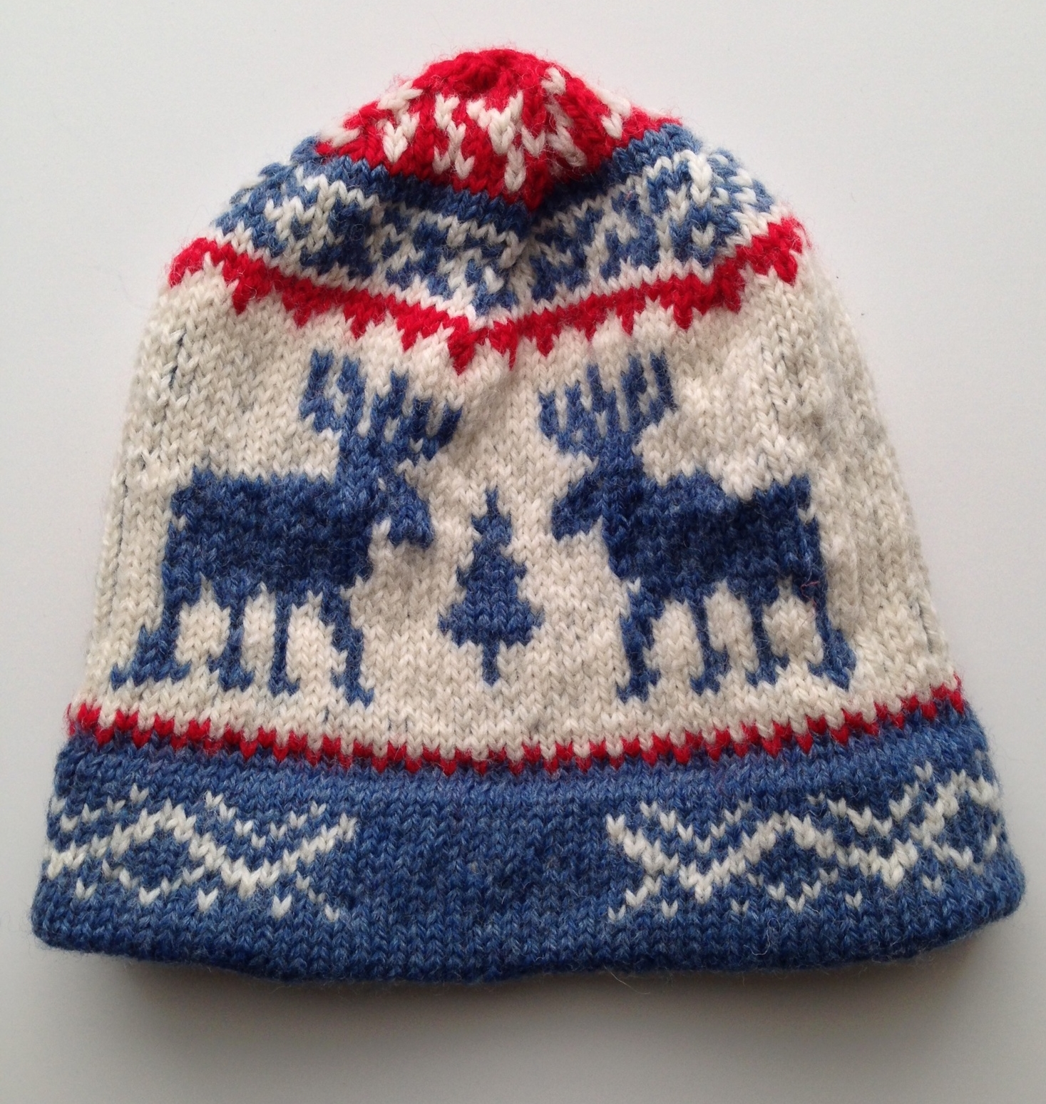 Team USA Reindeer Hat  by Helena Bristow. Knit by me for my daughter.