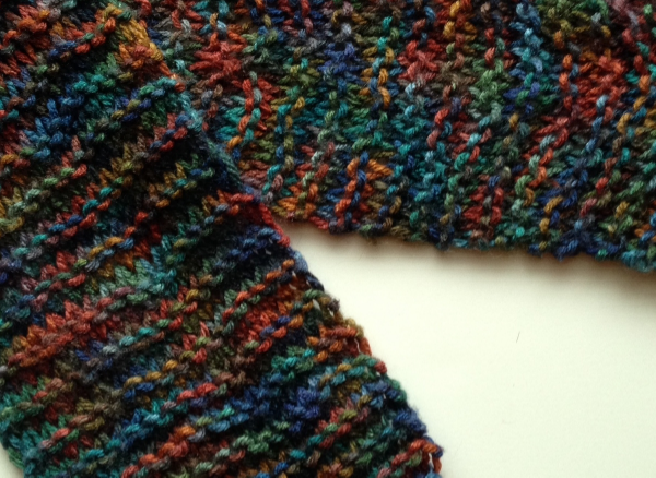 My first scarf. Look closely--it's supposed to just be garter stitch. When I look at it I know I've improved. That's perspective!