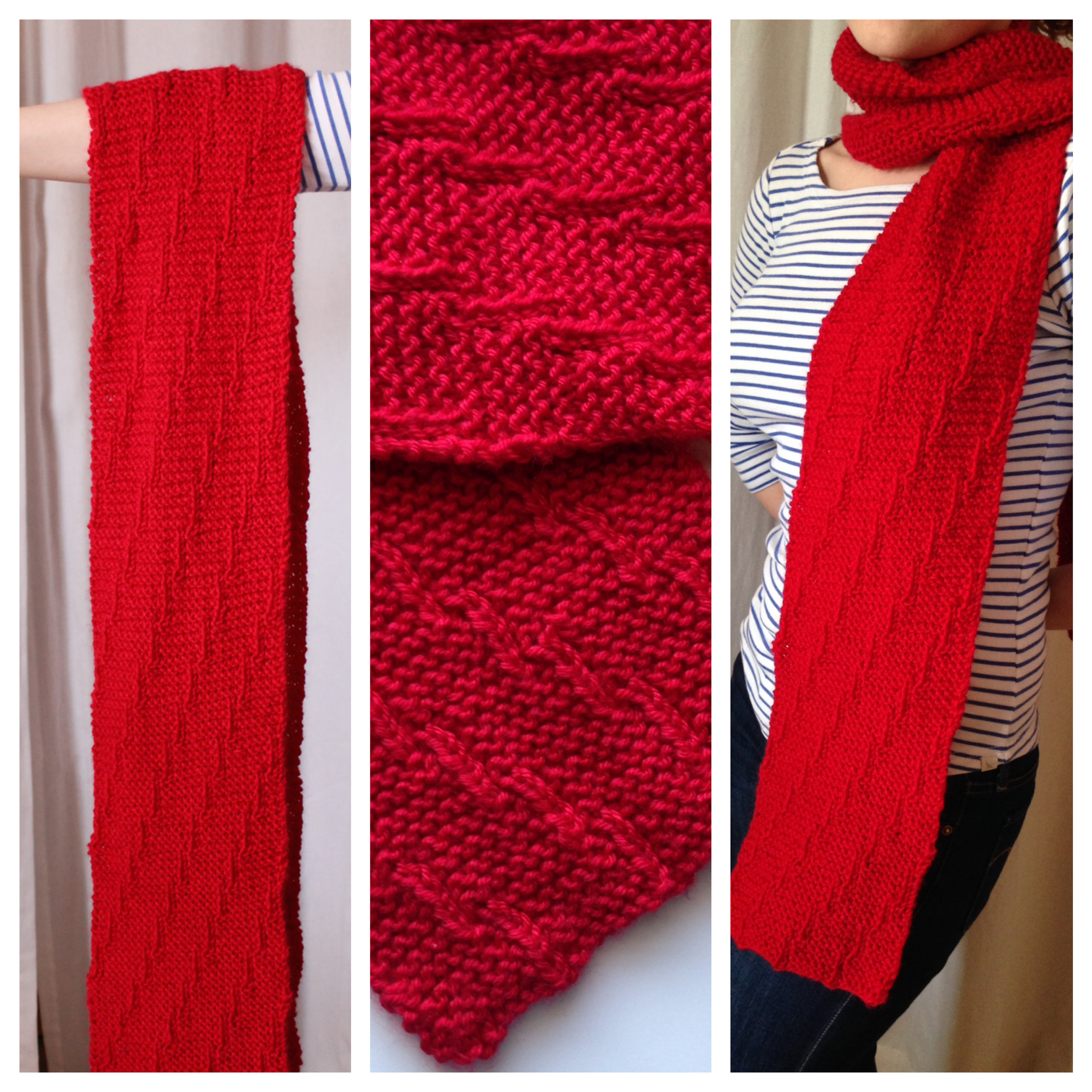 Altimeter Scarf   This pattern is available as a  free Ravelry download   As foster care students lift off into their college careers and their lives as adults, they benefit from the support and encouragement offered by knitters who donate to the Red Scarf Project. Help them soar with a scarf that serves as a tangible expression of care. For more information on donating to the Red Scarf Project, go to  http://www.fc2success.org/   This scarf is an easy knit and is completely reversible, using strategically placed purl stitches on each row of garter stitch to give the illusion of upward motion.  US Size 8 needles and worsted weight yarn.