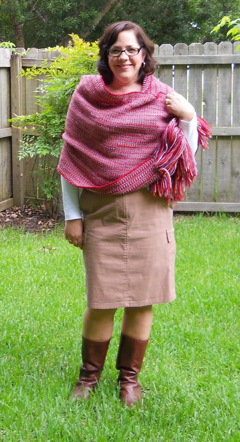 Tamara, wearing the Tamara Wrap. Pattern by Melissa Leapman.