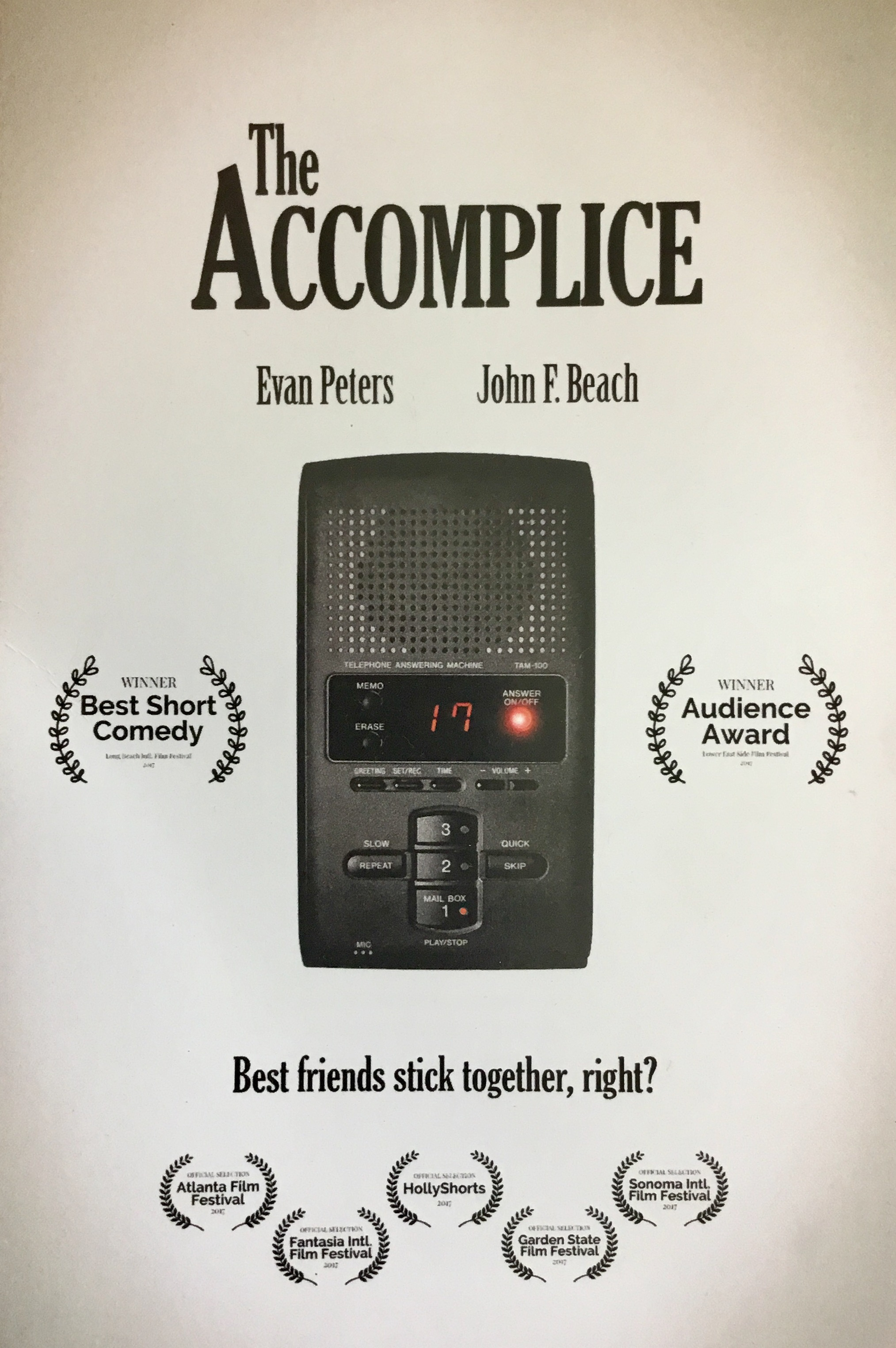 """The Accomplice"" - Arriving home from a long business trip, Jerry discovers a number of urgent messages on his answering machine. - (dir.) John Hoegg. Sound Design, Audio Post-Production, Location Sound, & Score by Jack Goodman."