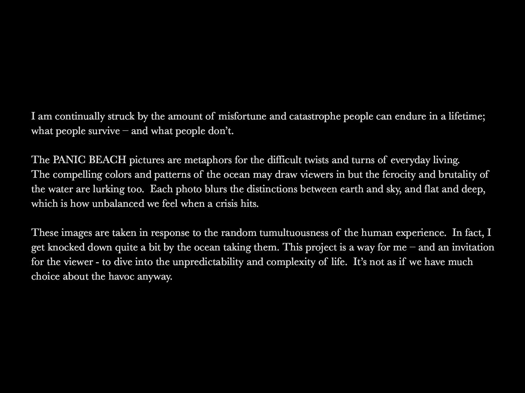 PANIC BEACH Artist Statement