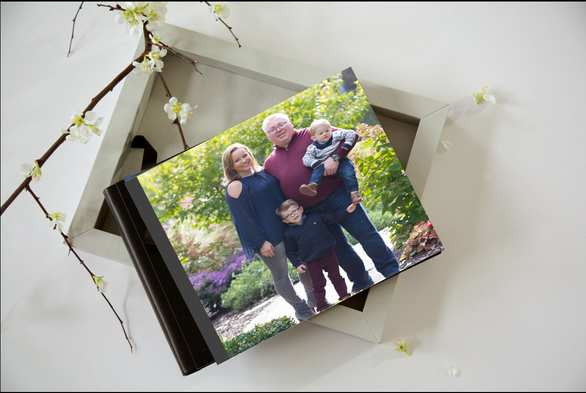 Album is nestled safely in a box (color of your choice) with a transparent lid to double as a piece of shelf-art, as well as a keepsake album! Pages are lay-flat so there are no middle creases to swallow the images.