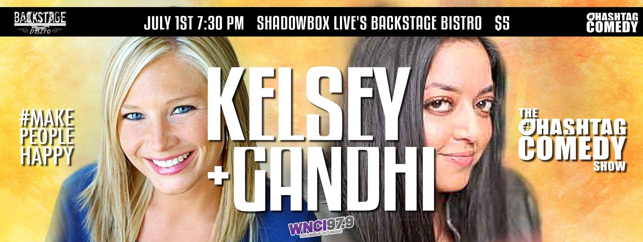 Kelsey and Gandhi at ShadowboxLive's Backstage Bistro