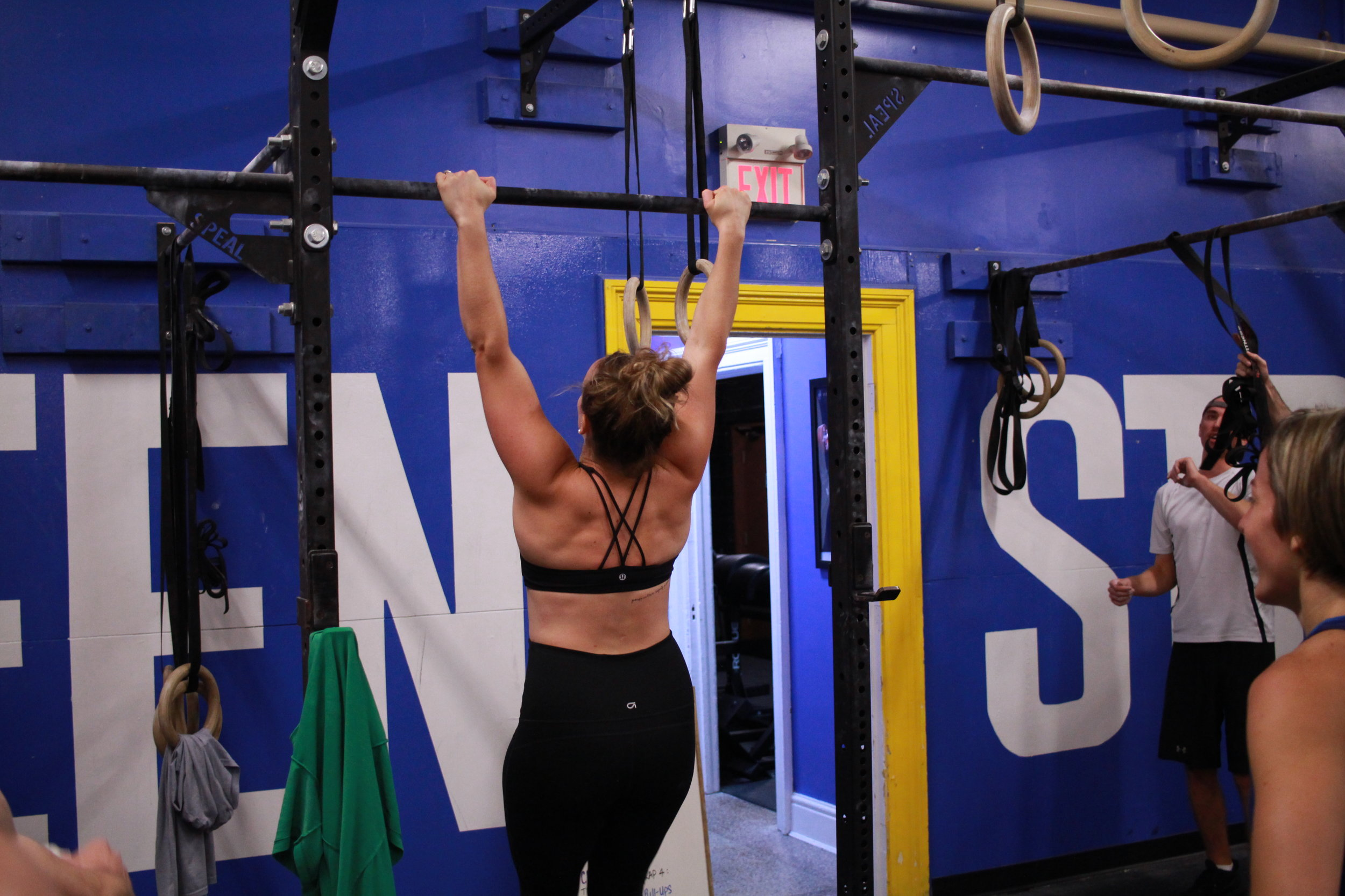 pull-ups  Strict pull-ups* (can be banded if needed) - 3:1 kipping to strict ratio   Ring rows*  Seated pull-ups to rings  Bent-over dumbbell rows  Rows on a low pull-up bar  *As long as no coning in the belly is observed. More   here  .