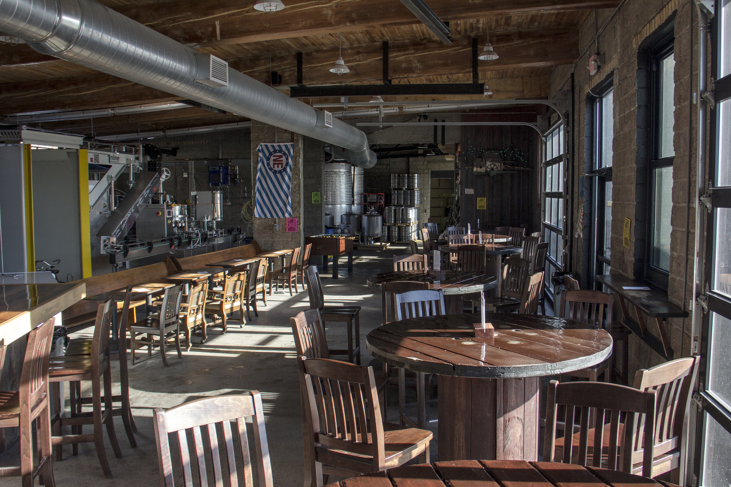 The taproom on a sunny morning.