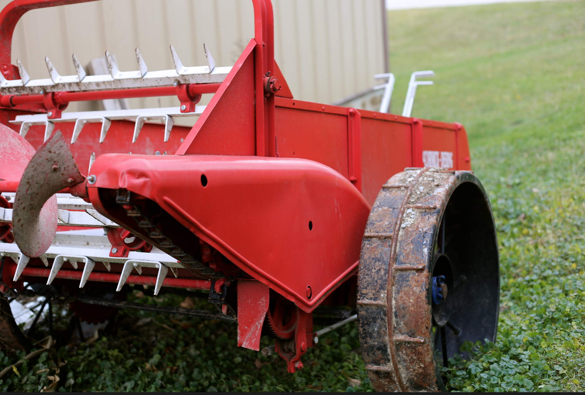 Check out the wheels on this vintage manure spreader, no air needed!