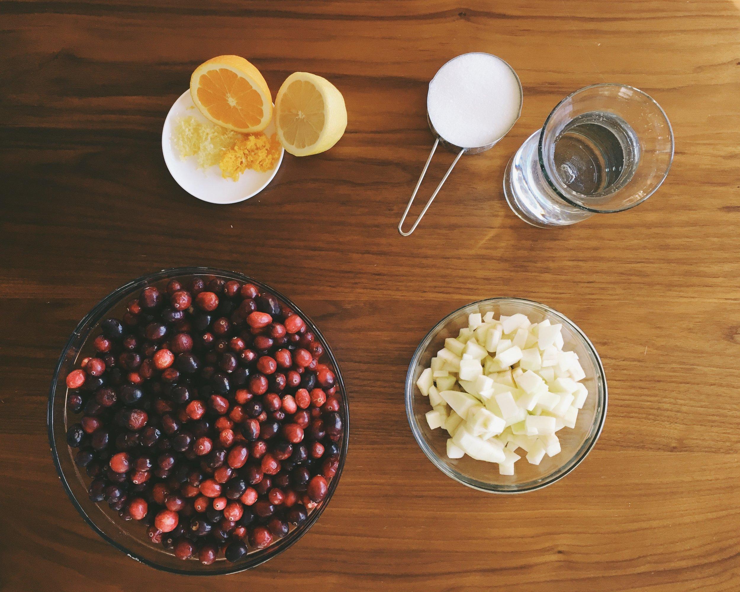 Cranberries, lemon + Orange, Granny Smith Apple, Sugar + Water