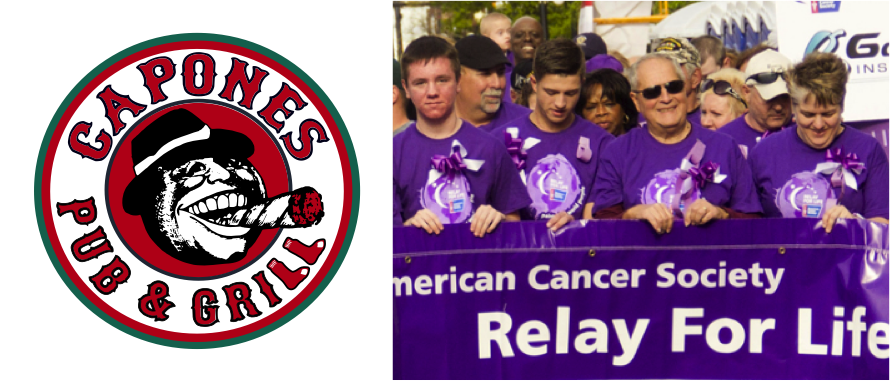 Capone's + Relay For Life - Cancer affects so many in our society. For Teresa Capone, that makes it a no-brainer for her restaurants to support several cancer-related causes, including [Relay for Life]-- these top a long list on nonprofits and youth sports teams supported by Coeur d'Alene's Capone's Pub & Grill.