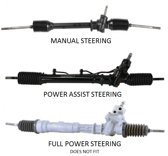 A steering rack from a Toyota AE86 Corolla 1983-1986 or Toyota AW11 MR2 1984-1989. The JBC crossmember is made to fit only manual and power-assist racks. The full power racks do NOT fit, they are easily identified by their completely cast aluminum housings as shown.