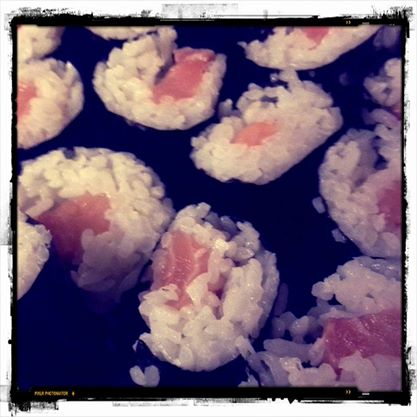 First attempt at homemade sushi... Not bad taste wise...need practice...and there can be too much of a good thing. (25/365)