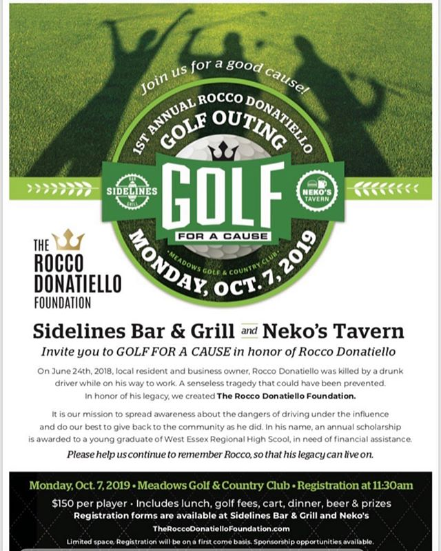 Please join us with @rocdonafoundation in collaboration with @sidelines_bar46 for the first annual Rocco Donatiello golf fundraiser! Proceeds go towards a scholarship for a West Essex High School graduate  October 7th 2019 @vividemotionphotography will be on site capturing the days festivities and celebrations  #sidelines46 #golf #fundraiser #golfouting #nj #njgolf #play